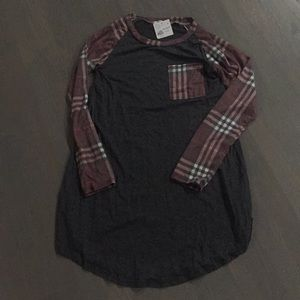 12PM by Mon Ami Boutique Grey, Plaid Tunic Top,